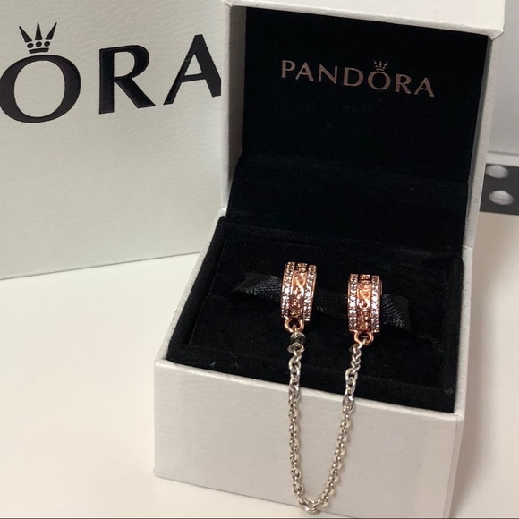 d25c1fc72a335 New Pandora 🌸Silver & Rose Gold CZ Safety Chain